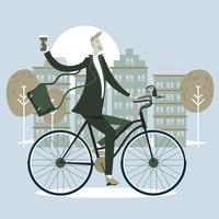 Male Businessman Riding Bicycle  and Cup a Coffee to Office with Scandinavian Style vector