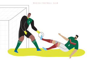Mexiko-Weltmeisterschaft-Fußball-Charakter-flache Vektor-Illustration
