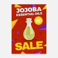 vector de cartel de venta de aceites esenciales de jojoba