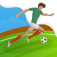 Jogador de futebol moderno minimalista do México para a Copa do mundo de 2018 drible uma bola com ilustração vetorial de gradiente