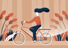 Woman Riding a Bike Vector Design