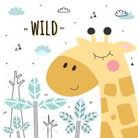 Vector de jirafa de dibujos animados