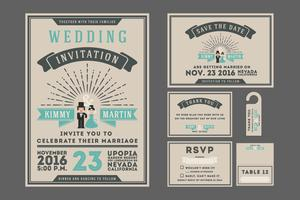 Classic vintage sunburst wedding invitation design with couple c vector