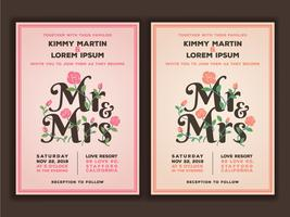 Mr and Mrs title with flower wedding invitations template. Peach vector
