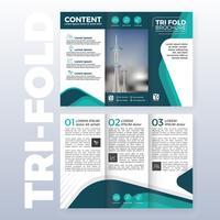 Design de modelo de negócio tri-fold brochura com cor turquesa