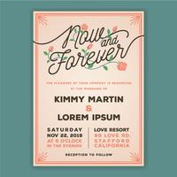 Now and Forever Wedding Invitation Template. vector
