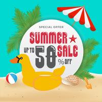 Summer Sell Promotion Banner Background and Objects Design