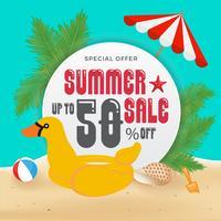 Promoción de venta de verano Banner de fondo y diseño de objetos