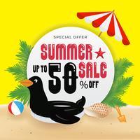 Promotion de vente d'été bannière fond et objets design avec