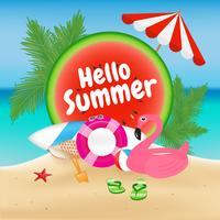 Hello Summer Season Background and Objects Design with Flamingo  vector