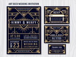 Great Gatsby Art Deco Wedding Invitation Design Template. Includ