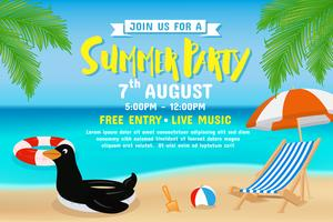 Summer party invitation flyer background template design vector
