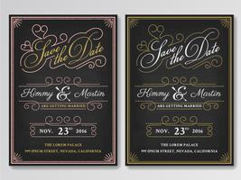 Vintage chalkboard save the date wedding invitation template. Ea