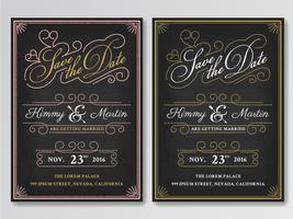 Vintage chalkboard save the date wedding invitation template. Ea