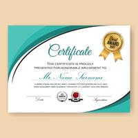 Modern Verified Certificate Background Template with Turquoise C vector
