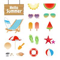 Set of Realistic Summer Design Objects and Elements vector