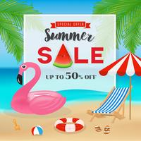 Sommerschlussverkauf-Fahnenhintergrund. Meerblick Hintergrund Witz