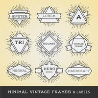 Set of vintage line frames and labels with sunburst. Hipster bor