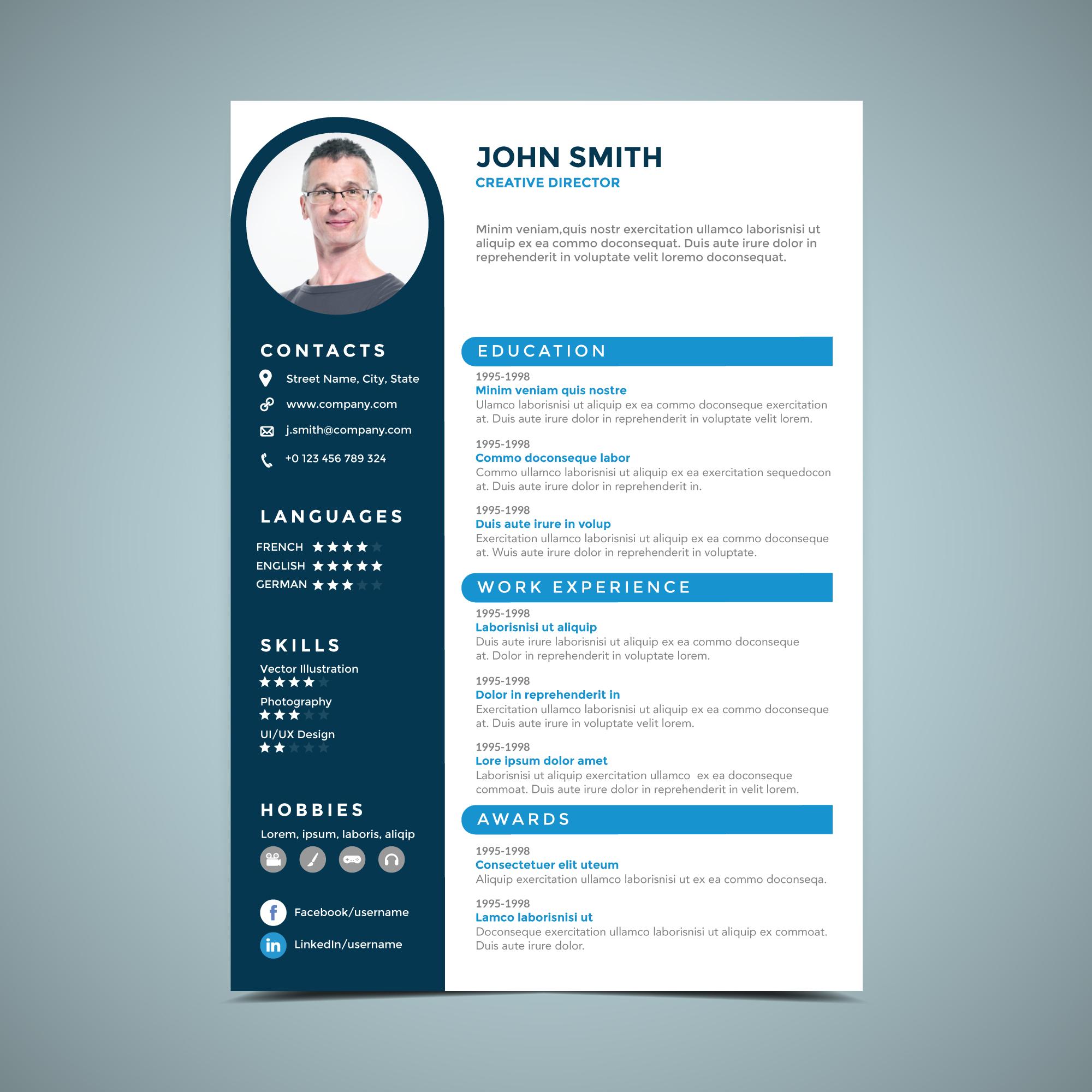 Blue Circle Resume Design Template Download Free Vectors