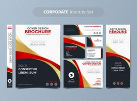 Gold und rotes Corporate Identity Set