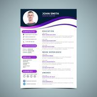 Paarse CV ontwerpsjabloon