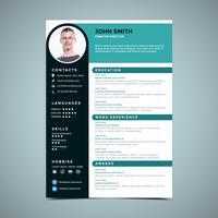 Modèle de conception de CV bleu-vert