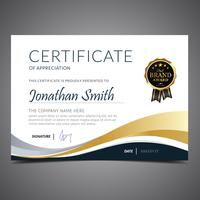 Gold And Blue Diploma Template