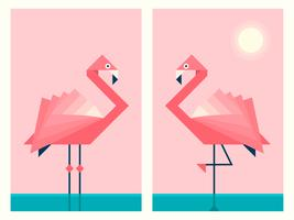 Flamingos In Geometric Origami Paper Art Style