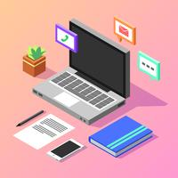 Office Isometric Workspace Vector