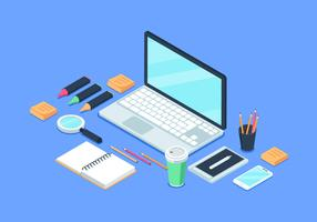 Flache isometrische Arbeitsplatz-Hintergrund-Illustration