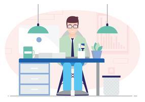 Vector ilustración de escritorio de oficina