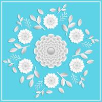 3d realistic floral papercraft with Flat Tosca background vector illustration