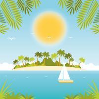 Vetorial, bonito, verão, paisagem, ilustração
