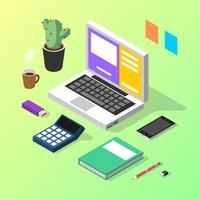 Accountant-isometric-workspace-vector
