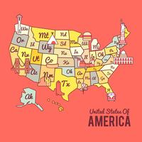 Colorful United States of America Map Vector