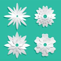 White-3d-floral-papercraft-vector