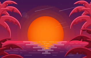Vector Colourful Red Landscape Illustration