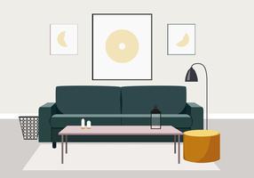 Ilustración de diseño de interiores de vector