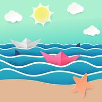 Beach Papercraft Vector Illustration