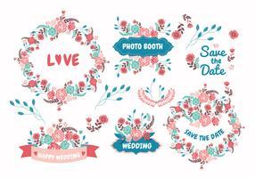 Elementos de la boda Flores Vector