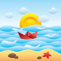 Beach Papercraft With Paperboat Vector