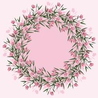 Couronne florale de vecteur rose