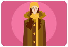 Korean Women with Coat Vector