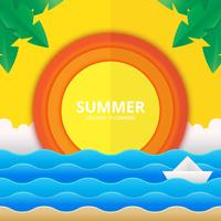 Beach and Sea Illustration for Summer Theme in Papercraft Style vector