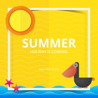 Strand und Meer Illustration für Sommerthema in Papercraft Style