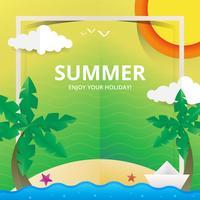 Ilustración de playa y mar para el tema de verano en el estilo de Papercraft