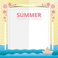 Beach and Sea Illustration for Summer Theme in Papercraft Style