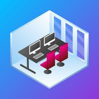 Home Office Concept Isometric Vector Illustration