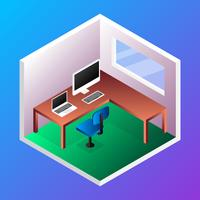 Home Office Room Concept Isometric Vector Illustration