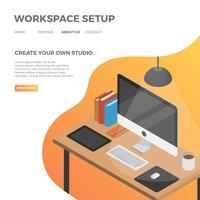 Flaches isometrisches Arbeitsplatz-Setup mit orange Steigung-Hintergrund-Vektor-Illustration